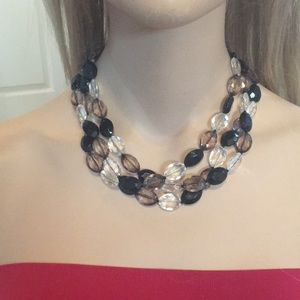 Pretty 3 Strand Blk/Brn/Clear  Bead Necklace